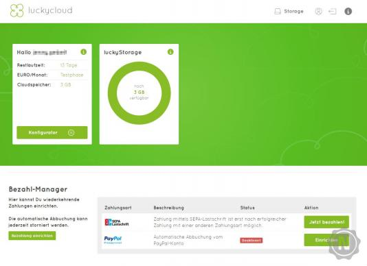 luckycloud Dashboard Webversion