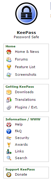 KeePass screenshot Userinterface