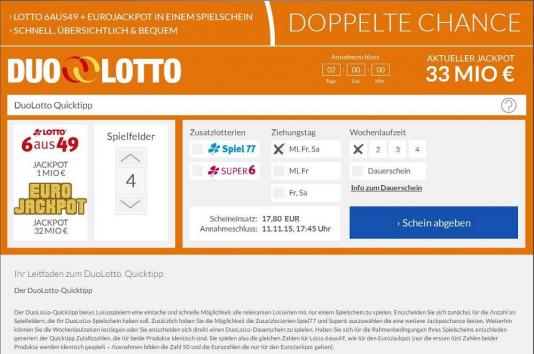 Lotto24 Duo Lottoschein Screenshot
