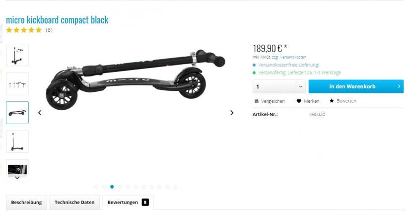Microscooter Shop Produktseite Screenshot