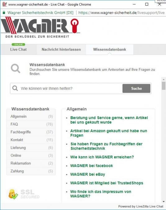 Wagner Sicherheit Support FAQs