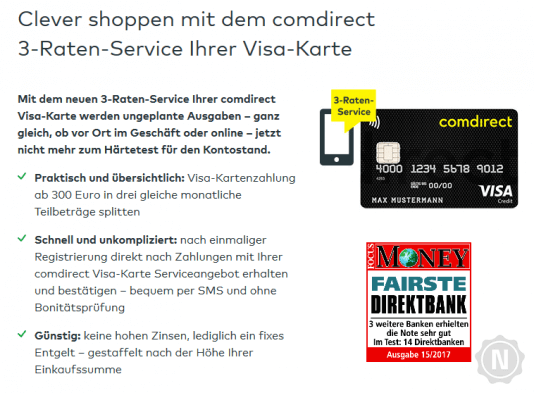Comdirect 3-Raten-Kredit