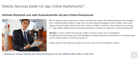Miles and More Online Kartenkonto