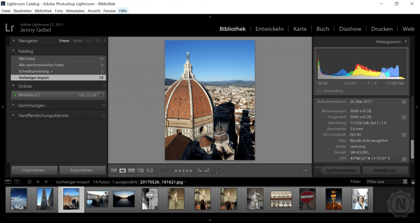 Adobe Lightroom Modul Bibliothek