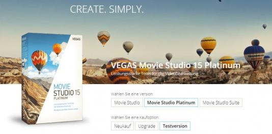 Vegas Movie Studio Webseite