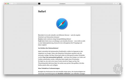 Safari im Test