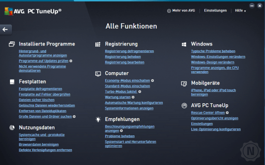 AVG PC TuneUP alle Funktionen